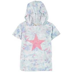 Big Girls Short Sleeve Tie-Dye Star Hoodie