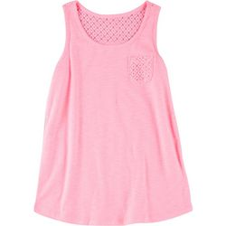 Green Soda Big Girls Solid Lace Tank Top