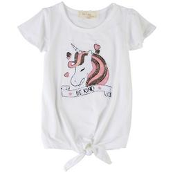 Little Girls Be Kind Unicorn Tie Front Top