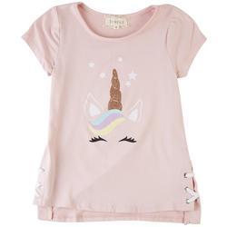 Little Girls Unicorn Vibes Short Sleeve Top