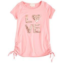 Big Girls Sequin Love Short Sleeve Top