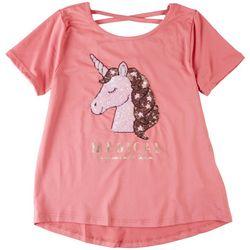 Btween Big Girls Unicorn Sequin Crossback Short Sleeve Top