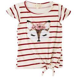 Btween Little Girls Sequin Fox Tie Side Short Sleeve Top