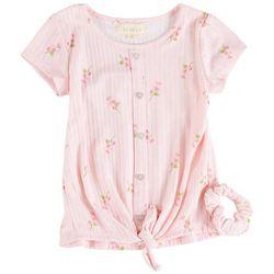 Btween Little Girls Floral Print Tie Front Short Sleeve Top