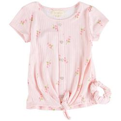 Little Girls Floral Print Tie Front Short Sleeve Top