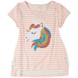Big Girls Sequin Unicorn Stripe Short Sleeve Top