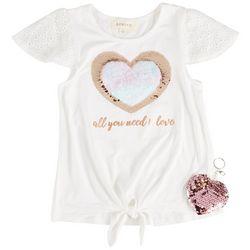 Btween Little Girls Heart Sequin Tie Front Short Sleeve Top