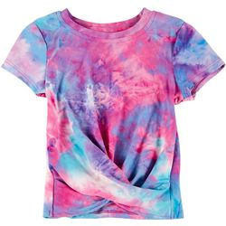 Kidtopia Big Girls Tie Dye Twist Short Sleeve Top