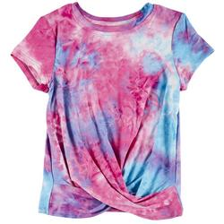 Big Girls Tie Dye Twist Short Sleeve Top