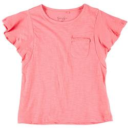Big Girls Flutter Sleeve Pocket Tee