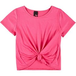 Kids Little Girls Solid Knot Front Tee