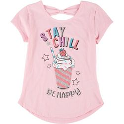 Star Ride Little Girls Bow Back Stay Chill Tee