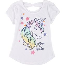 Star Ride Little Girls Bow Back Unicorn Tee