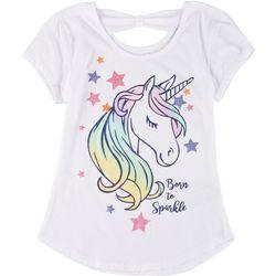 Little Girls Bow Back Unicorn Tee