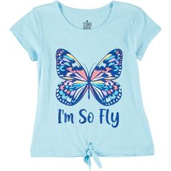 Star Ride Little Girls Butterfly Tie Front Tee