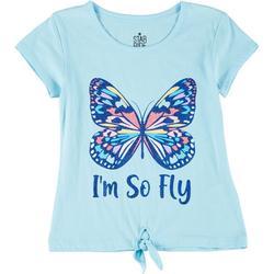 Little Girls Butterfly Tie Front Tee