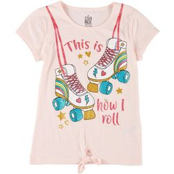 Star Ride Little Girls Roller Skates Tie Front Tee