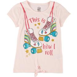 Little Girls Roller Skates Tie Front Tee