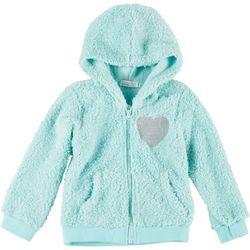 Young Hearts Big Girls Faux Fur Sequin Heart Hoodie