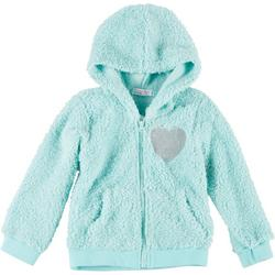 Young Hearts Big Girls Faux Fur Sequin Heart Hoodie