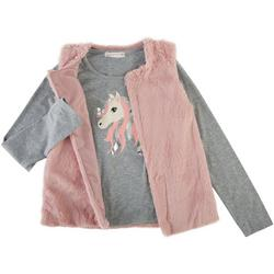 Young Hearts Little Girls 2-Pc. Sparkly Unicorn Vest Set