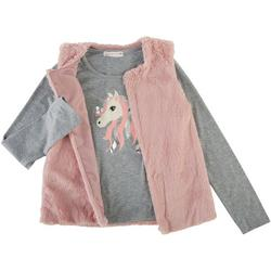 Young Hearts Big Girls 2-Pc. Sparkly Unicorn Vest Set