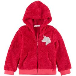 Young Hearts Little Girls Sherpa Sequin Unicorn Jacket