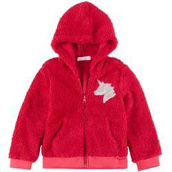 Young Hearts Little Girls Sherpa Sequin Unicorn Jacket