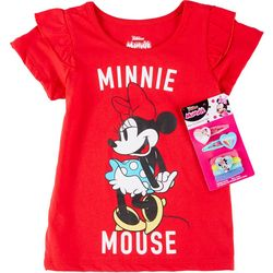 Disney Little Girls Minnie Mouse Tee & Hair Accessory Set