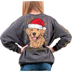 Big Girls Santa Dog T-Shirt