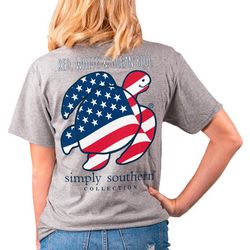 Simply Southern Big Girls Red, White & Ocean Blue T-Shirt