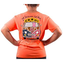 Simply Southern Big Girls All American Sunflower T-Shirt