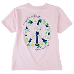 Simply Southern Big Girls Peace Floral T-Shirt
