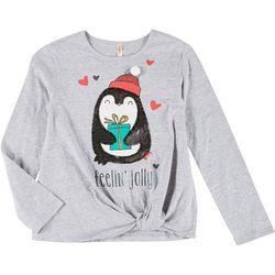 Little Girls Penguin Feelin' Jolly T-shirt