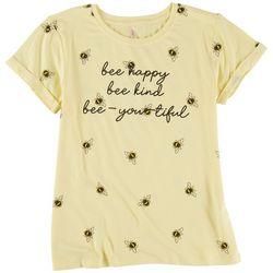 Runway Girl Big Girls Bee Happy Bee Kind T-Shirt