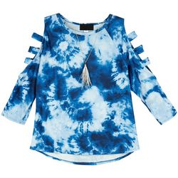 Amy Byer Big Girls Long Sleeve Tie Dye Cage Sleeve Top