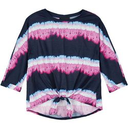 Amy Byer Big Girls Stripe Tie Dye Top