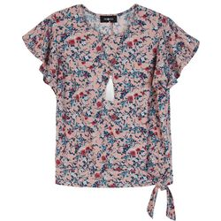 Amy Byer Big Girls Floral Print Flutter Sleeve Top
