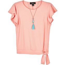 Amy Byer Big Girls Flutter Sleeve Side Tie Tee