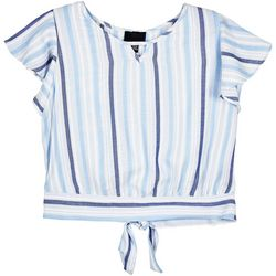 Amy Byer Big Girls Striped Tie Back Top