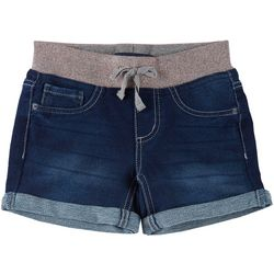 Big Girls Glitter Knit Waist Denim Midi Shorts