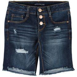 Vanilla Star Big Girls 3 Button Denim Bermuda Shorts
