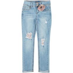 Big Girls Denim Jeans With Hair Tie