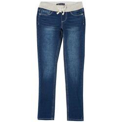 Vanilla Star Big Girls Ribbed Knit Pull On Denim Pants