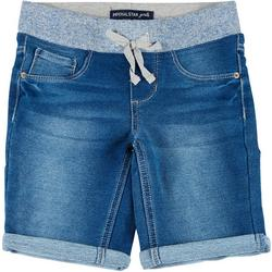 Big Girls Knit Waist Denim Roll Cuff Shorts