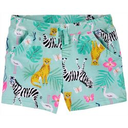 Little Girls Animal Print French Terry Shorts
