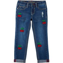 Little Girls Cherry Roll Cuff Denim Ankle Jeans