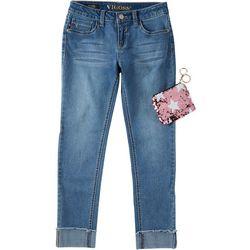 Vigoss Little Girls Pocket Of Stars Denim Ankle Jeans