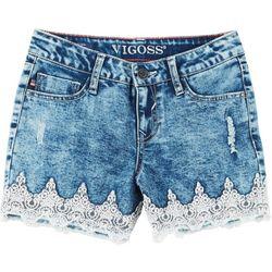 Vigoss Big Girls Acid Washed Lace Shorts
