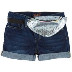 Vigoss Big Girls Sequin Fanny Pack Denim Shorts